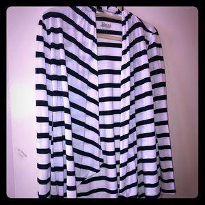 Bass lightweight navy and white stripe  cardigan